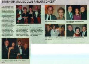 Birmingham News coverage of Parlor Concert
