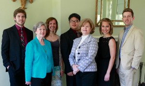 Left to right, Andrew Nalley (Voice); Elaine Clark - Scholarship Chairman, Alana Guarino (Flute), Johnny Mok (Cello), Kay Clark - Scholarship Committee, Katherine Vest (piano), and Arthur Bosarge, (accompanist).