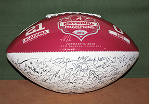 2011 National Championship football, autographed by players and coaches, LSU vs AL