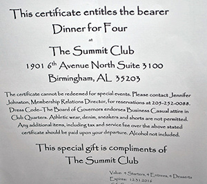 Dinner for 4 at The Summit Club, donated by Lu Moss