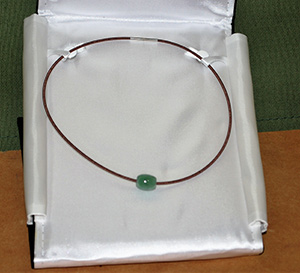 Jade Bead on Copper Wire Necklace, donated by Judy Anderson