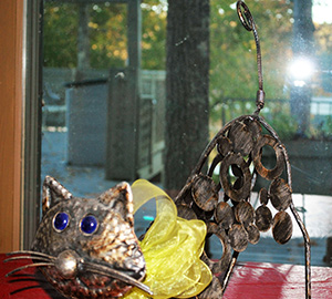 Metal Cat Sculpture, donated by Judy Anderson