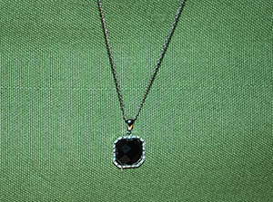 Square Black Onyx and Diamond necklace