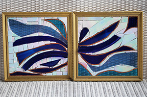 "Stained glass art named ""Duet"" by the artist Greta Carmichael."
